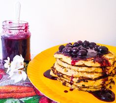 Coconut Banana Pancakes with Blueberry Sauce - BronteCarlo.   Dairy, gluten and guilt free pancakes! They use coconut milk, oat flour and a whole lot of banana! But they're simply delicious, and even more so when combined with the blueberry sauce!!