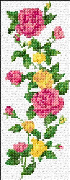 Free cross stitch pattern -  rose bookmark