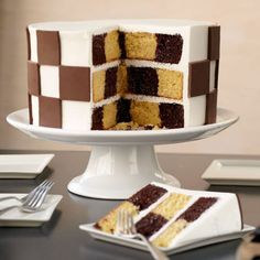 Checkerboard Candy Clay Cake - What a great move for your next party! Use the Checkerboard Cake Set to bake a cake with multi-colored squares, then use homemade Candy Clay to duplicate the design on the cake surface. Food Cakes, Cupcake Cakes, Checkered Cake, Striped Cake, Checkerboard Cake, Cake Recipes, Dessert Recipes, Pear Cake, Wilton Cake Decorating