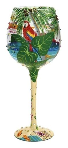 Tropical Dreams Super Bling Wine Glass by Lolita I pre-ordered this in December for February delivery. Can't wait to get it! Painted Wine Bottles, Hand Painted Wine Glasses, Decorated Bottles, Wine Painting, Bottle Painting, Mud Pie Gifts, Wine Sale, Altered Bottles, Wine Delivery