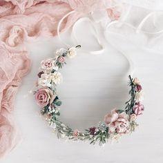 A personal favorite from my Etsy shop https://www.etsy.com/listing/608012141/blush-bridal-flower-crown-wedding-blush