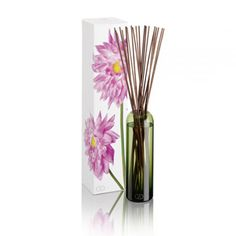 DayNa Decker Botanika Essence Ella Diffuser -  Mandarin, Citrus, Jasmine, Tuberose, and Sandalwood. Signature botanical oils. Hand-blown green vessel. Twenty reed sticks. 16 oz.