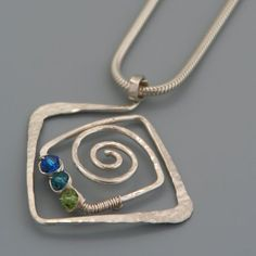 Square Spiral Sterling Silver Pendant with Swarovski Crystals