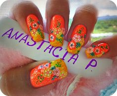 wow this tropical colored nail design is amazing