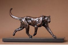 Bart Walter, Striding Cougar Maquette, Bronze, 10 x 12 1/2 x 3 in. At the Gerald Peters Gallery, Santa Fe, New Mexico.