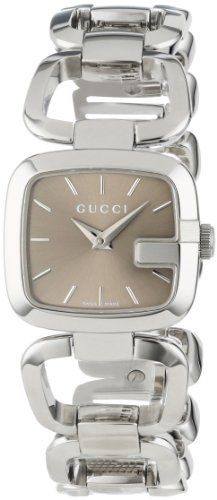 3ede0001ac6 Gucci Women s YA125507 G-Gucci Small Brown Dial Steel Bracelet Watch Gucci