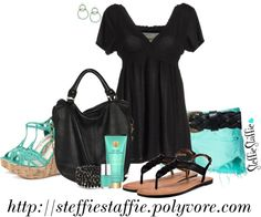 """""""Spring Aqua & Black"""" by steffiestaffie ❤ liked on Polyvore"""