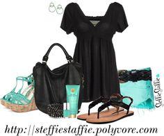 """Spring Aqua & Black"" by steffiestaffie on Polyvore"
