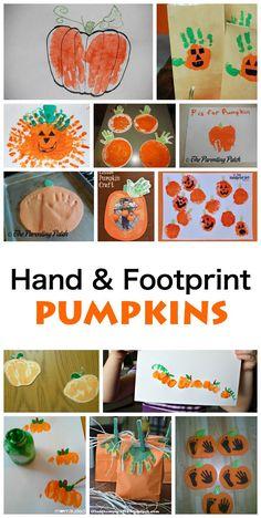 Hand and Footprint Pumpkins. Great fall art activity for kids! Hand and Footprint Pumpkins. Great fall art activity for kids! Toddler Art, Toddler Crafts, Baby Crafts, Art Activities For Kids, Autumn Activities, Art For Kids, Halloween Crafts For Kids, Halloween Activities, Daycare Crafts