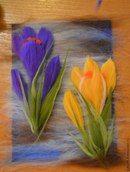 """МК """"Крокусы"""". Шерстяная живопись Felt Flower Tutorial, Felt Wall Hanging, Landscape Art Quilts, Felt Pictures, Needle Felting Tutorials, Felt Fairy, Wool Art, Felt Birds, Felt Decorations"""