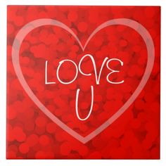 Love U Red Bubbles Heart Ceramic Tile