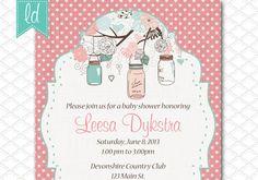 Mason Jar Invitation Printable Polka Dots by LeesaDykstraDesigns, $15.00