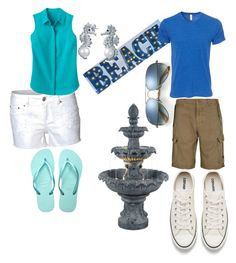 """""""Inspired by Cabin 3- Poseidon"""" by fandomcloth ❤ liked on Polyvore featuring Ray-Ban, Improvements, Dex, TravelSmith, Havaianas, Bling Jewelry, Armani Jeans and Converse"""