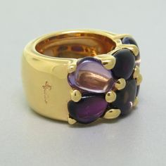 Pomellato Sassi Iolite Amethyst Gold Ring | From a unique collection of vintage rings