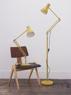 Anglepoise + Margaret Howell Yellow Ochre Type Edition, Desk lamp and Floor lamp Margaret Howell, Desk Lamp, Table Lamp, Diy Floor Lamp, Anglepoise Lamp, Interior Styling, Interior Design, Mid Century Lighting, Unique Lamps