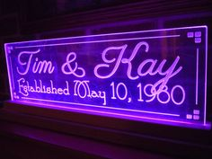LED Lighted Acrylic Sign Wedding Gift Personalized by TKWoodcrafts