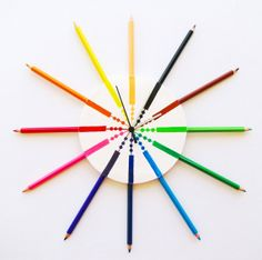 Childrens colored pencil wall clock