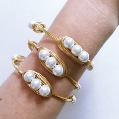 [SET OF 3] Mother's Day SaleWhite Pearl Bangles Handmade! Includes (3) pearl bangles made from excellent quality, white, glass pearls and gold colored wire. Tarnish resistant. Diameter is 2.75 inches across. Sydney Elle Jewelry Bracelets
