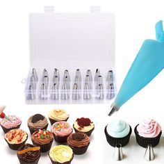 Cake Decorating Set, Peyou® [27 in 1] Cake Decorating Supplies Kit Set, 24-Piece Stainless Steel Piping Tips DIY Icing Tips with Reusable Silicone Pastry Bag & 2 Reusable Coupler for Cakes Cupcakes Cookies Pastry. 17.99 https://www.amazon.ca/gp/product/B01JLZ3IVM/ref=as_li_qf_sp_asin_il_tl?ie=UTF8&camp=15121&creative=330641&creativeASIN=B01JLZ3IVM&linkCode=as2&tag=pinteres0d238-20