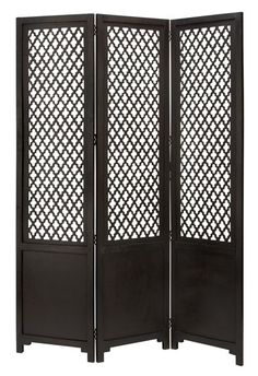 This classic black screen is a great room divider