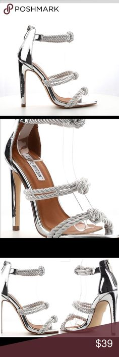 Cape Robbin Knotted Metallic Silver Sandal Ankle Metallic Stiletto pump heels dressy for party, cocktail , girls night out and prom Shoes Heels