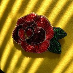 Red Rose BroochChristmas decorRed Rose Jewelry Floral