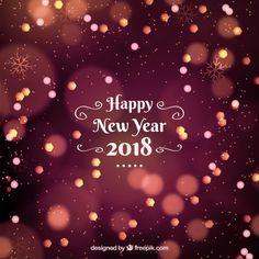 Bonne année 2018 fond avec effet bokeh Vecteur gratuit