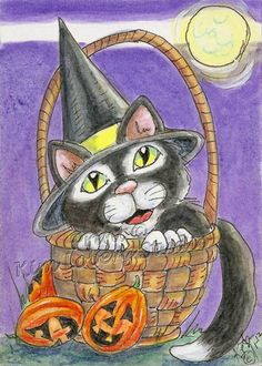 witch Black Cat Pumpkin JOL eggs ACEO PRINT EBSQ Kim Loberg Halloween Art moon   #IllustrationArt