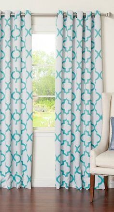Reverse Moroccan Tile Printed Room Darkening Grommet Curtain Pair - Set of 2 Panels - Blue | Sponsored by Nordstrom Rack