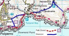 O/S MAP OF TALLAND BAY,Cornwall