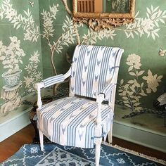 Mark D. Sikes' Bedroom for Kips Bay Show House, green chinoiserie wallpaper by Gracie Studio, blue and white Schumacher striped chair