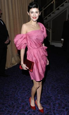 audrey tautou red dress   Audrey Tautou Style » Clothes Lookbook