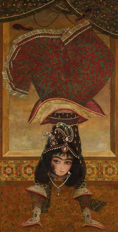 Dancer on her hands. Author unknown. Oil on canvas; Persia (Iran). Probably - the first quarter of the 20th century.