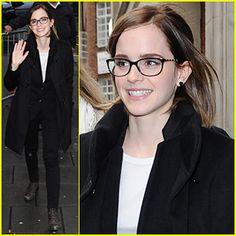 Emma Watson looking cute in glasses!