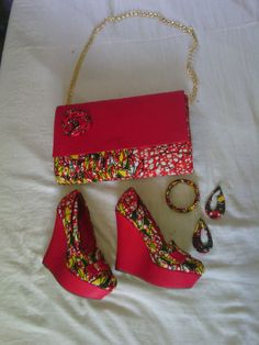 African Print Shoes and Purse. African Fabric by EJAfricanProducts African Print Shoes and Purse. African Fabric by EJAfricanProducts African Accessories, African Jewelry, African Print Skirt, African Fabric, African Attire, African Wear, African Inspired Fashion, African Fashion, Ankara Bags