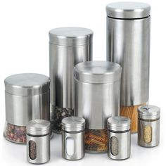 @Overstock - Store your spices, pasta, etc. in this wonderful canister set. The finish will enhance any decor, and with 8 sizes you can store most of your needs. The stainless steel is easy to clean and will help keep your food fresh longer.http://www.overstock.com/Home-Garden/Cook-N-Home-8-piece-Stainless-Steel-Canister-and-Spice-Jar-Set/7322987/product.html?CID=214117 $36.99