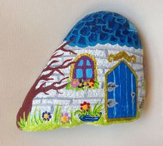 Fairy House on Stone Magic House Painted stone painted rock office ornament garden marker decoration stone art Fantasy