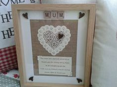 SCRABBLE+ART+FRAME+Rustic+Personalised+Hessian+Mother+s+Day++Picture+Mum++GIFT++
