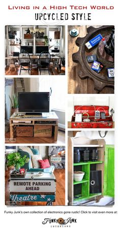 Living in a high tech world upcycled style! A collection of electronics gone rustic by FunkyJunkInteriors.net #Techoration @verizonfios