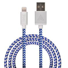 [MFi licensed] iasg Lightning to Reversible USB Cable 3.3ft/1m. Super Fast Charge+Data Sync Premium Rugged Cotton Braided Lightning Cable with Aluminum Casing & Rubber Strain Protectors for Apple iPhone 6 6Plus 5s 5c 5, iPad Air mini mini2, iPad 4th gen, iPod touch 5th gen, and iPod nano 7th gen (blue and white) iasg http://www.amazon.co.uk/dp/B00Y4FM762/ref=cm_sw_r_pi_dp_aVP5vb01H5Z1M