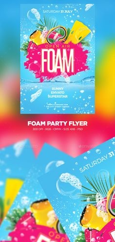Foam #Party #Flyer - Clubs & Parties #Events Foam Party, Flyer Size, Flyer Design Inspiration, 19th Birthday, Club Parties, Email Design, Party Flyer, Graphic Design Posters, Flyer Template