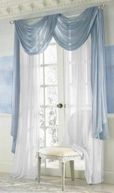 Elegance Voile BLUE Sheer Curtain The elegance panel offers a romantic blend of elegant details and simple textures and features a light voile in an array of colors. Pair Blue and White curtains together for a soothing style. Living Room Decor Curtains, Home Curtains, Living Room Colors, Swag Curtains, Sheer Curtains, Bedroom Colors, Bedroom Decor, Blue And White Curtains, Colorful Curtains