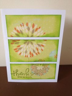 Thank you card, flowers, stamps, green, 3 frame