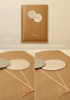 DIY Brown craft paper dvd package. Love the balloon tag