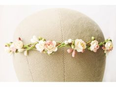 Flower Crown, Floral Crown, Bridal Headpiece, Pink, Peach, Cream, Wedding Hair Accessories, Romantic Hairpiece, Fairy, Simple, Small, Pastel on Etsy, $52.96 AUD