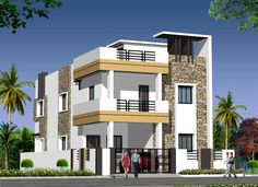 The real-estate market is constantly changing in their methods on how to look for that right house and property. House Front Wall Design, Duplex House Plans, Bungalow House Design, Dream House Plans, Modern House Plans, Small House Plans, Modern House Design, Indian House Plans, Independent House