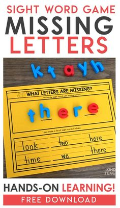 Sight Word Activity freebie - This is a partner activity! One student writes or builds a sight word with missing letters and another student writes the missing letters completing the word. This is perfect for literacy centers or a small group activity! Teaching Sight Words, Sight Words List, First Grade Sight Words, Sight Word Games, Sight Word Activities, Writing Center Kindergarten, Literacy Centers, Kindergarten Projects, First Grade Freebies