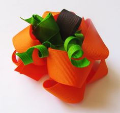 Halloween Thanksgiving Bows Pumpkin Double Layer Twisted Boutique Bow Ribbon Sculpture