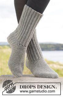 "Comfort Rib - Gehäkelte DROPS SOCKEN aus ""Alaska"". Größe 35 – 43. - Free pattern by DROPS Design"