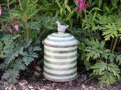 judith rowe: handmade store jar - stripe motif - green colourway